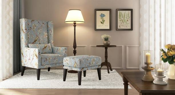 Urban Ladder Morgen Wing Chair & Ottoman (Colour : blue nightingale) Solid Wood Lounger