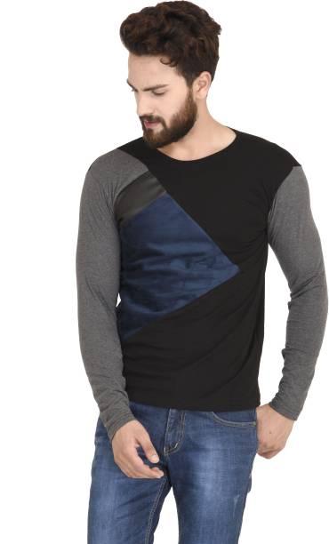 STITCH STUDIOS Self Design Men Round Neck Black T-Shirt