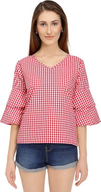 7f734dead61fcc Chimpaaanzee Casual Bell Sleeve, Layered Sleeve Checkered Women's Red Top