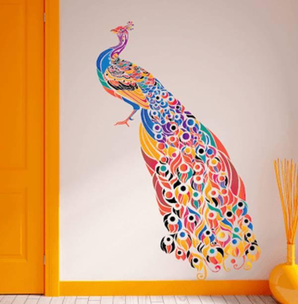 Happy Walls Multi-coloured Peacock