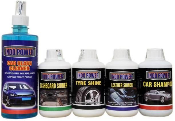 INDOPOWER CAR GLASS SOLUTION 500ml.+ DASHBOARD SHINER 250ml.+ TYRE SHINER 250ml.+ LEATHER SHINER 250ml.+CAR SHAMPOO 250ml. Car Washing Liquid