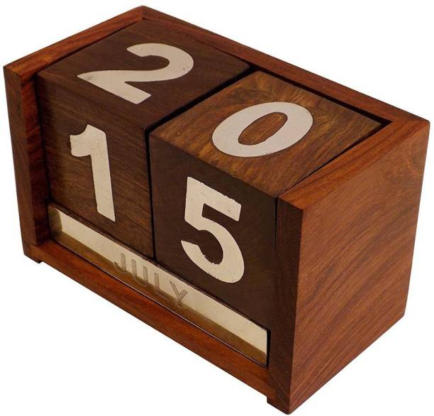 WoodCart 0 Compartments wooden, H@ndmade Wooden Never Ending Date Calendar for Office Use Calander