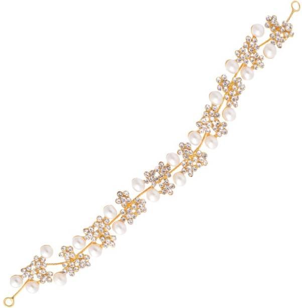 Aaishwarya Dazzling Golden Pearl & Stones Floral Designed Bridal/wedding Hair/Head Band Party wear Tiara Hair Band