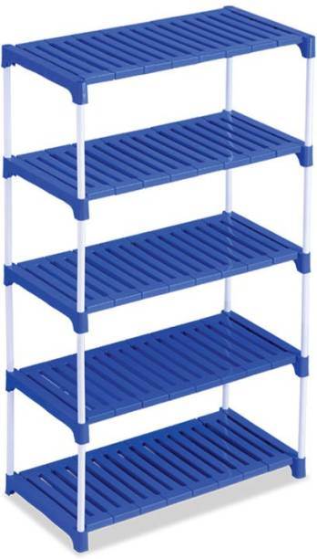 MEDED CGS Steel Frame Strong Multipurpose Ace 5 Tier Shoes Clothes Books and Utility Rack with Plastic Shelves Plastic, Steel Wall Shelf