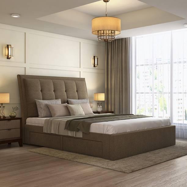 Urban Ladder Thorpe Upholstered Engineered Wood King Drawer Bed