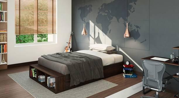 Urban Ladder Toshi Teen Bed With Storage (Finish : dark walnut) Engineered Wood Single Drawer Bed