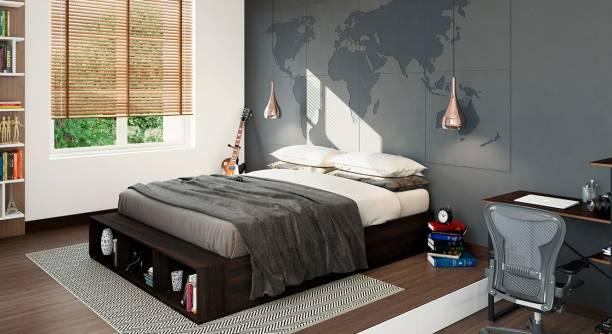 Urban Ladder Toshi Platform Storage Bed (Bed Size : queen; Finish : dark walnut) Engineered Wood Queen Drawer Bed