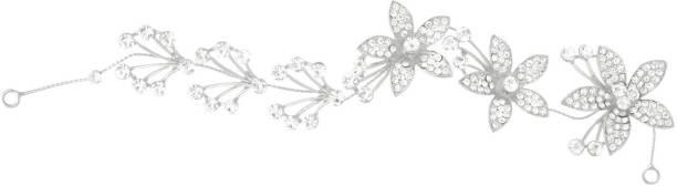 Aaishwarya Dazzling Silver Floral Crystal Bridal/wedding Hair/Head Band Party wear Tiara Hair Band