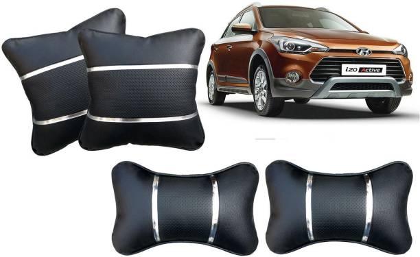 AUTO PEARL Black, Silver Leatherite Car Pillow Cushion for Hyundai