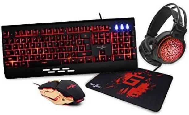 Redgear Manta 4.1 3 color LED Keyboard / 3200 DPI mouse / RGB Headphones and XL Mouse mat Combo Set