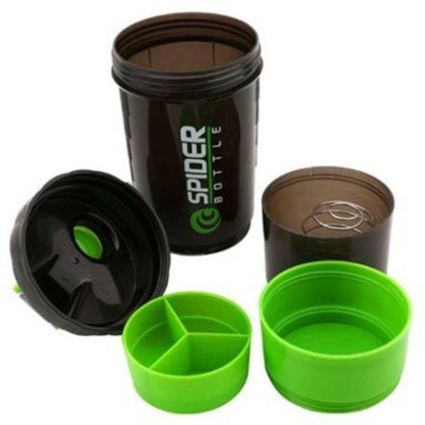 AVMART Protein Shaker Gym Bottle with 2 Storage Compartments and 1 Pill Tray 500 ml Shaker