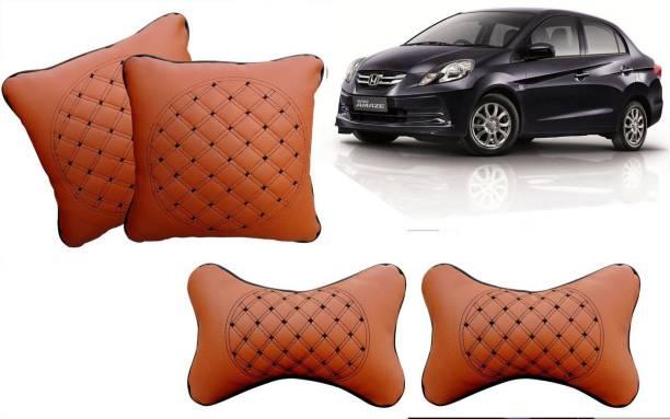 AUTO PEARL Beige Leatherite Car Pillow Cushion for Honda