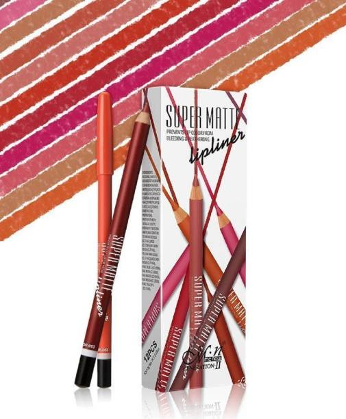 Menow Super Matte Lip Liner Pencil (Set Of 12) - P102