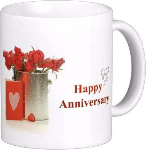 Exoctic Silver Happy Marriage Anniversary : Qw07 Ceramic Coffee Mug