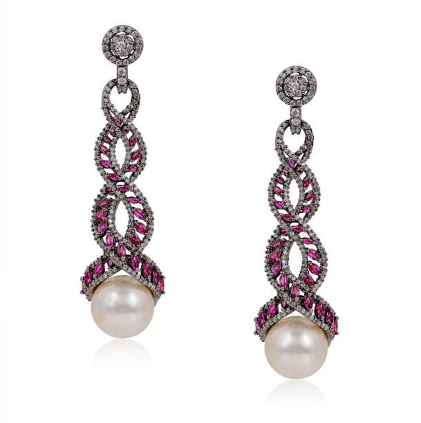 7th Avenue Jewellery Victorian Pink Shire Earrings Cubic Zirconia Br Drop Earring