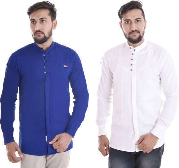 VERO LIE Men Solid Casual White, Blue Shirt