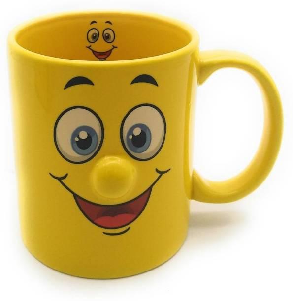Satyam Kraft Ceramic Yellow Smiley Coffee Mug Random Design For Kids Birthday Gift
