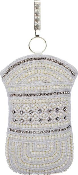 Bagaholics Ethnic Beads Pearl Clutch Silk Saree Mobile Pouch Waist Clip Las Purse Gift