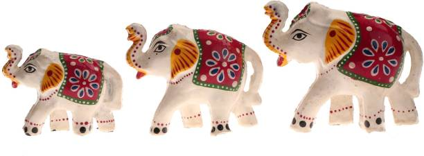 DreamKraft Set of 3 White Elephant Idol & Showpiece For Home Decor And Gift Purpose Decorative Showpiece  -  6 cm