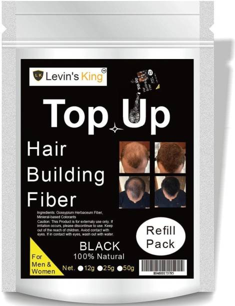 Levins King Hair Building Fiber, Hair concealer Refill Pack Use For Toppik, Looks 21 etc.Black Color Pack of 1