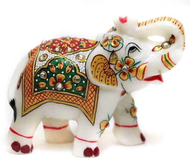 d62b093cf4e21 DI-KRAFT Beautifully Hand Crafted Marble Elephant Statue Idol With  Meenakari Work Home Decor Set