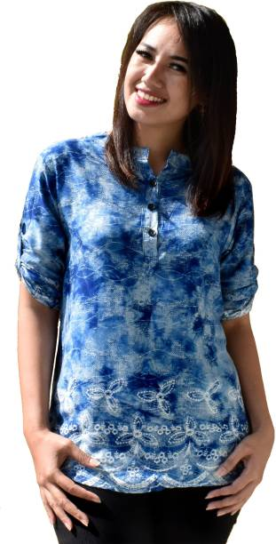a13547acce602c Dark Blue Tops - Buy Dark Blue Tops Online at Best Prices In India ...