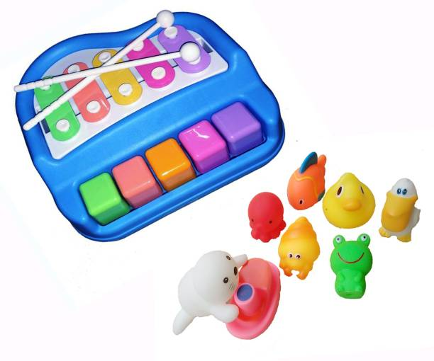 PRESENTSALE Xylophone Rattel for kids musical toy with 8 pcs bath chu chu toy Rattle