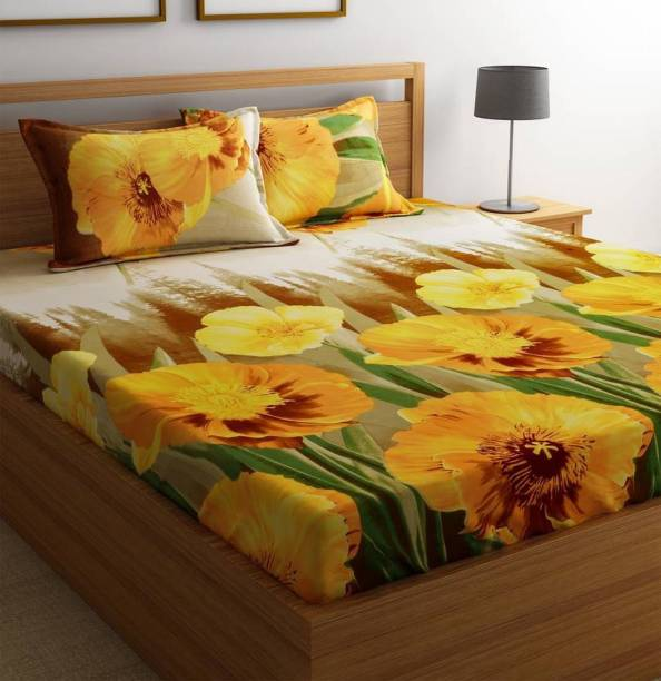 A9 Bed N Bath 144 TC Microfiber Double 3D Printed Bedsheet
