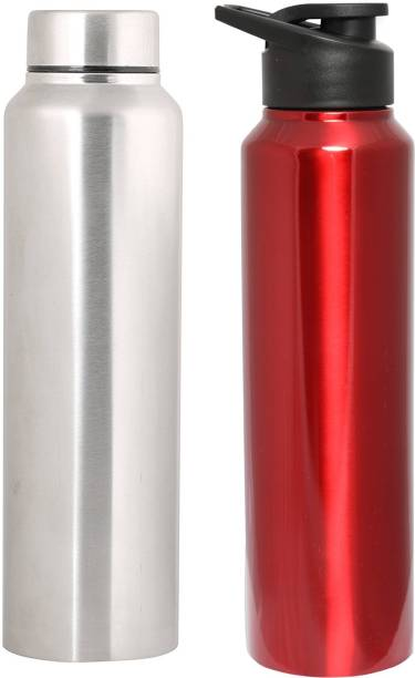 80ab386ab9 Zafos Chromo Stainless Steel Sipper Water Bottle - 1000Ml,Silver and  red,2Pc.