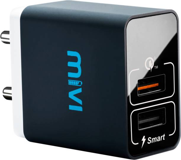 Mivi Quick Charge Dual Port Wall adapter 5 A Multiport Mobile Charger with Detachable Cable