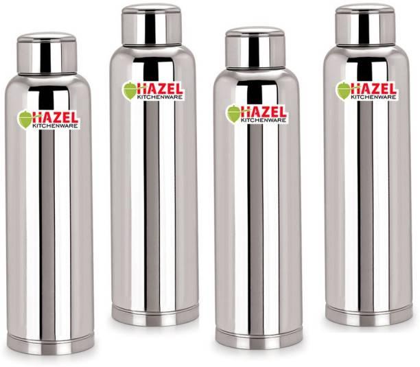 7189d2a141 Hazel Stainless Steel Water Bottle Set of 4, 900 ml, Leakproof, Silver 900