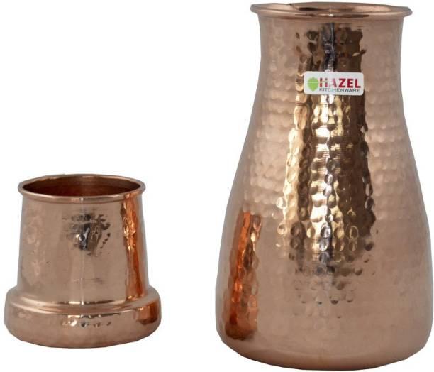 413a588532 Hazel Copper Carafe Water Bottle 650 ml with Glass 650 ml Bottle
