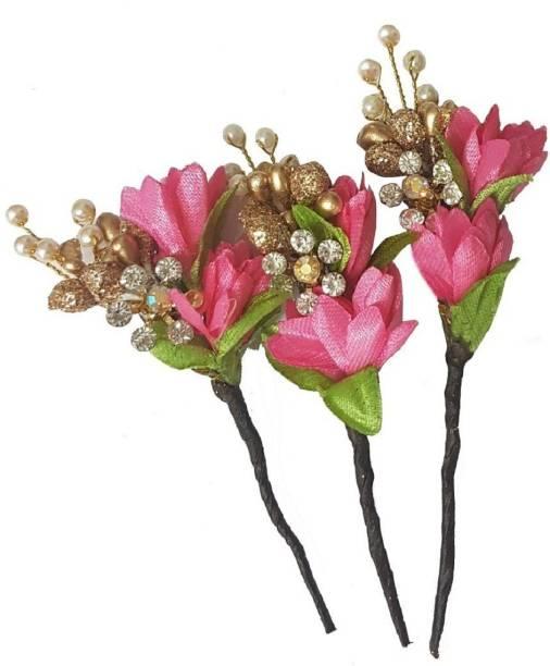Bridal hair accessories buy bridal hair accessories online at best majik flower juda hair clips broach pins for bridal girls accessoriespinkgolden beads mightylinksfo