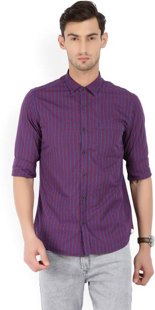 Scullers Men Checkered Casual Red, Blue Shirt