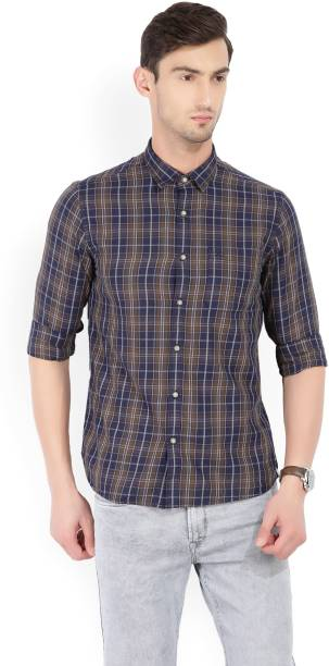Scullers Men Checkered Casual Brown, Blue Shirt