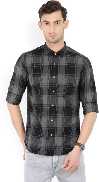 Scullers Men Checkered Casual Black, Grey Shirt