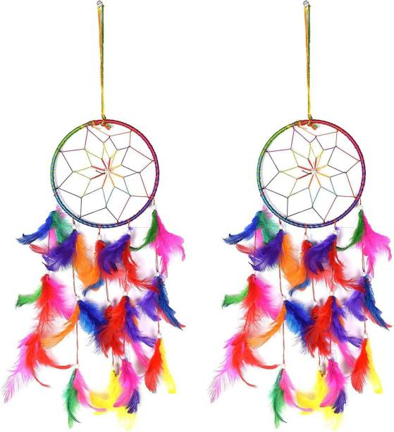 Ryme Ryme Multicolor Dream Catcher Attracts Positive Dreams With Colorful Feather For Home/Office (Pack of 2) Wool Dream Catcher