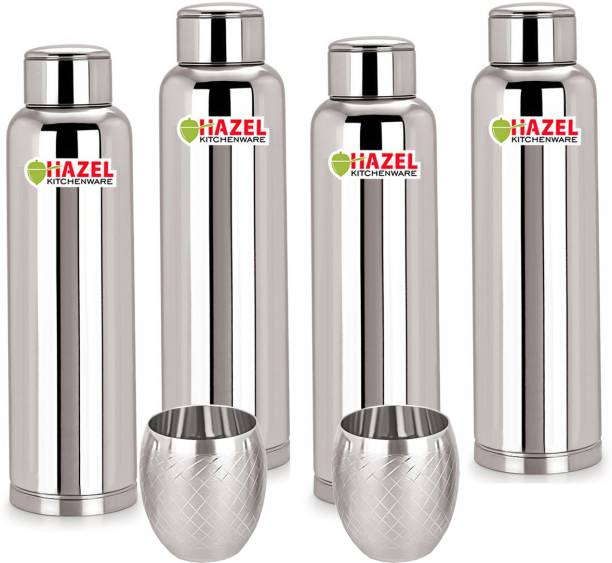 ca92884c12 Hazel Stainless Steel Water Bottle Set of 4 and Limo Chex Glass 2 Pc, 900