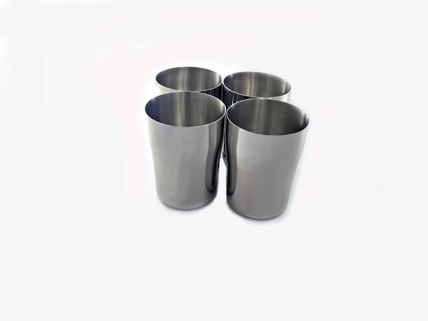 bhalaria (Pack of 4) SS 7cm Tumblers Set Glass Set
