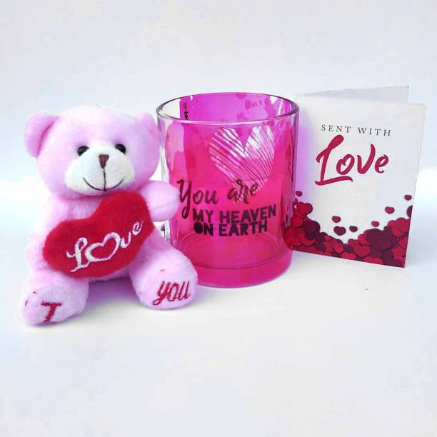 HOT MUGGS You're My Heaven on Earth Valentine with Teddy and Card Glass Coffee Mug