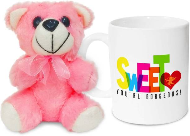 HOT MUGGS Sweetheart, you're gorgeous! Valentine with Teddy Ceramic Coffee Mug