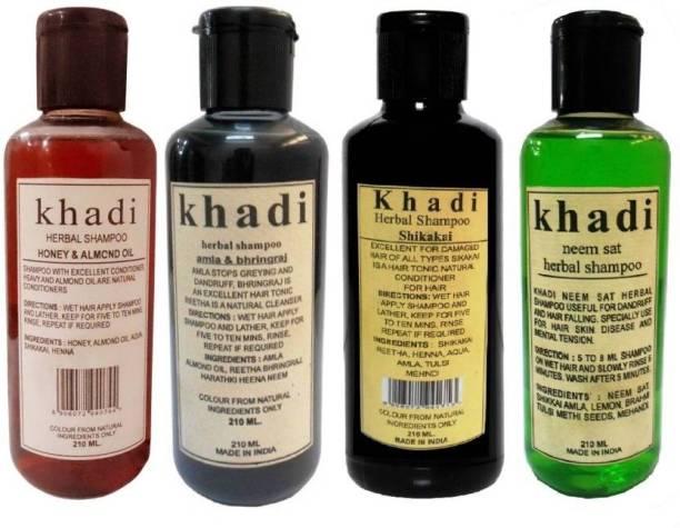 Khadi Herbal Combo Shampoo: Honey & Almond Oil, Amla & Bhringraj,Shikakai & Neem Sat Shampoo ( Pack of 4) 840 GMS