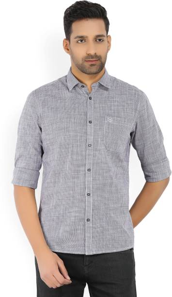 Scullers Men Checkered Casual Grey Shirt