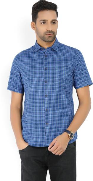 Scullers Men Checkered Casual Blue, Grey Shirt