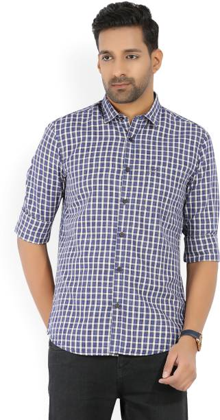 Scullers Men Checkered Casual White, Blue, Yellow Shirt