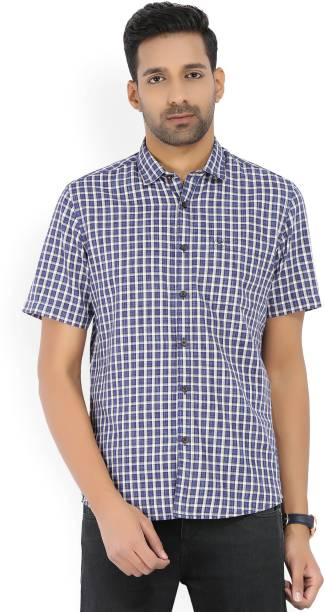 Scullers Men Checkered Casual White, Blue Shirt