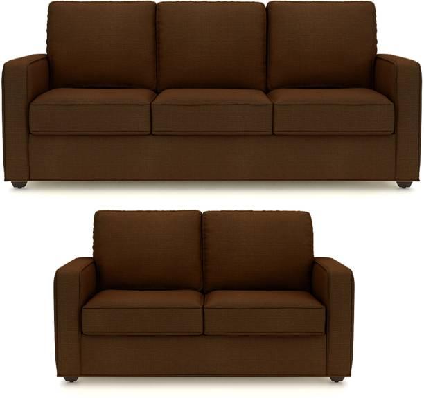 PRIMROSE Eclipse Fabric 3 + 2 Coffee Brown Sofa Set