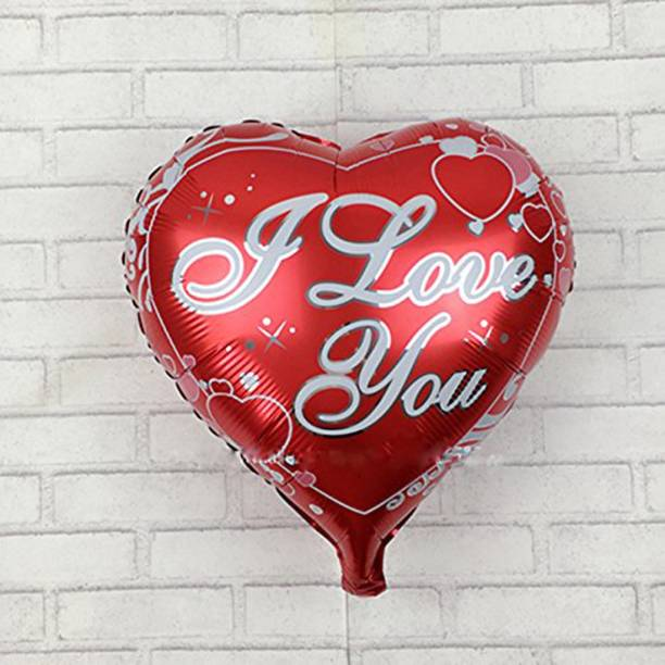 """AMFIN Printed (Pack OF 2) Heart Shape Red Balloons """"I LOVE YOU"""" Red Foil Balloon For valentine decoration Material, Wedding, Engagement - Red Balloon"""
