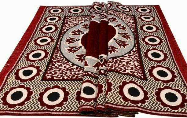 The Haryana Prints Maroon Cotton Carpet