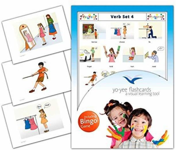 58284aab5 Yo Yee Education Verbs Flash Cards In English With Matching Bingo Game Cards  In One Set
